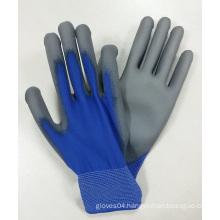 Blue Nylon Grey Palm Dipped PU Gloves Work Glove China