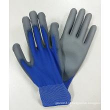 Blue Nylon Grey Palm mergulhado luvas de trabalho PU Luva China