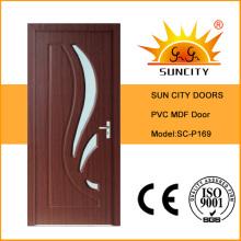Portas interiores usadas projetadas do PVC do MDF com vidro (SC-P169)
