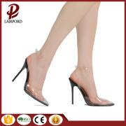 Sharp mouth PVC lace up ladies stilettos