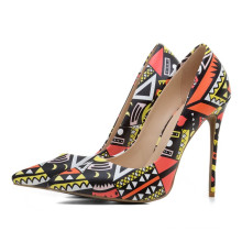 sexy fashionable flower print pu leather pointed toe stiletto work party shoes ladies pumps