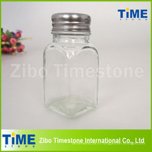 Расписанное стекло специй банку с крышкой из нержавеющей стали (TM110)