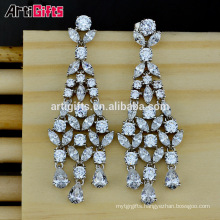 White Gold Plated Cubic Zirconia Diamond Wedding Earrings