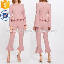 Bell Sleeve Peplum Top und Tailored Rüschen Saum Hosen Set Herstellung Großhandel Mode Frauen Bekleidung (TA4118SS)