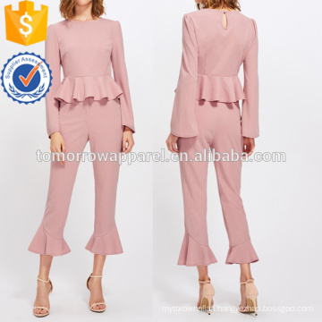 Bell Sleeve Peplum Top And Tailored Ruffle Hem Pants Set Manufacture Wholesale Fashion Women Apparel (TA4118SS)