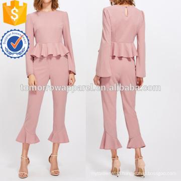 Bell Sleeve Peplum Top And Tailored Ruffle Hem Pants Set Manufacture Wholesale Fashion Women Apparel (TA4118SS)