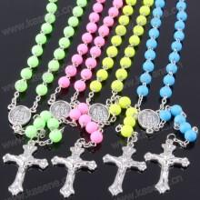 Atacado Muitas cores Colar de Rosário Católica Cadeia com Virgem Maria Center & Metal Cruz