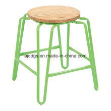 Taburete de madera redonda barra de hierro tubo de asiento