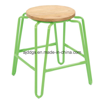 Wooden Seat Iron Tube Round Bar Stool