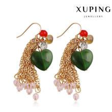 92234 Pendiente de la joyería de piedra en forma de corazón de moda en oro 18k plateado
