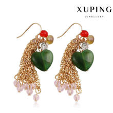 92234 Fashion Heart-Shaped Stone Jewelry Eardrop in 18k Gold-Plated