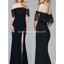 Estilo Popular Black Off Shoulder Maxi Dress