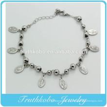 TKB-B0078 Pulsera con cuentas de rosario de plata con cuentas de 4 mm y colgante de metal católico
