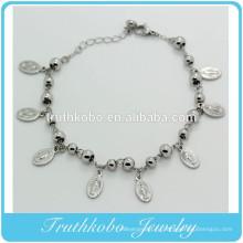 ТКБ-B0078 серебро Розария бусины браслет с 4 мм бусины и католическая металлический кулон