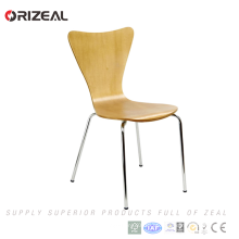 Perna de aço inoxidável dobrado cadeira de madeira maciça para atacado (oz-1043)