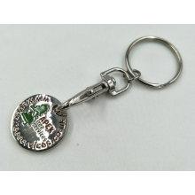 Anel chave da moeda esmaltada barata do trole do metal da promoção