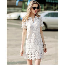 Summer Geometrical Pattern Lace V-Neck Women′s Dress