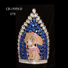 "12"" Rhinestone Custom Cartoon Boy Dog Pageant Crown"