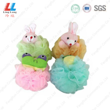 Mesh sponge with cute animal ball
