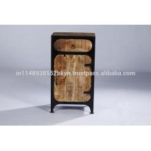 Industrial Vintage 1 Drawer 1 Door Iron Wood Nightstand