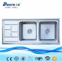 Dissipadores de cozinha de serviço público dobro de Lowes Undermount dos produtos novos com placa de dreno