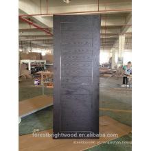 Carvalho vermelho americano folheado projeto de porta de madeira nivelada com tiras de metal nas ranhuras