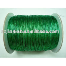 green metallic round braided cord