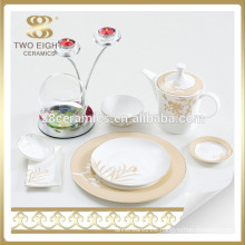 Ukraine turkish dinnerware set arabic with gold flower printing