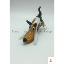 Colorful Happy Dog Glass Sculpture