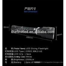 Interrupteur magnétique sans gradation gradation 2500lm rechargeable professionnelle lampe de plongée menée