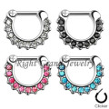 CZ Crystal Paved Nose Septum Piercing Jewelry Septum-Piercing