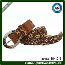 genuine leather women Braided Belt leopard knitted For Dress Fashion Girls Korean Style