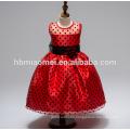2017 new design short design children polka dot sleeveless girl princess dress with bow