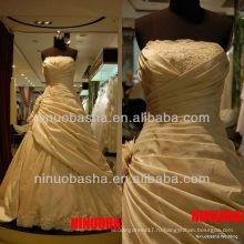 Вопрос-6266 оборками из органзы свадебные платья кружева аппликация горячие продажи свадебное платье 2012