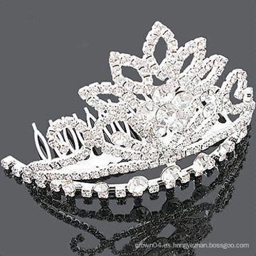 Venta al por mayor accesorios de pelo cristales corona peine de pelo