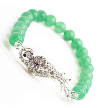 Green Aventurine Gemstone Bracelet with Diamante alloy parrot Piece