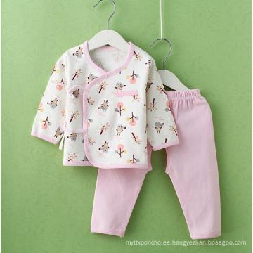 Traje de algodón peinado impreso ropa para bebés recién nacidos