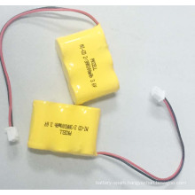 NI-CD 2/3AA 300mah 3.6V Rechargeable Battery Pack for Wholesale