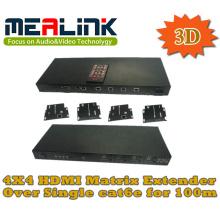 4 a 4 Cat5e / 6 Extensor de matriz HDMI, compatível com 3D