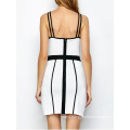 White Piping Bodycon Bandage Slip Dress