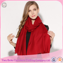 China 2017 winter women newly pure red color solid style knit wool shawls