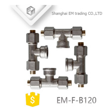 EM-F-B120 Nickel plated AL-PEX-AL brass pipe tee