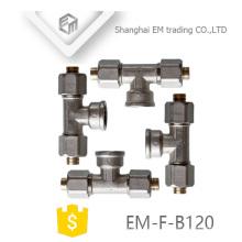 EM-F-B120 Niquelado AL-PEX-AL tubo de latão tee
