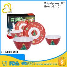 meilleure vente de vaisselle en mélamine ronde forme mélamine noël vaisselle