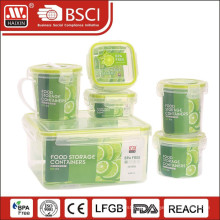 7PCS Plastic Food Storage Container Set with Four Side Lock