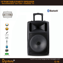 15′′ Portable Party DJ Wireless Karaoke Trolley Bluetooth Active Speaker