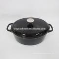 Oval aus Gusseisen mit schwarzem Emaille-Auflaufform / Auflaufform / Kochtöpfe / Kokotten