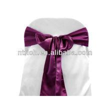 Eggplant Satin chair sash, chair ties, wraps for wedding banquet hotel