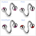 Double Gem Spiral Twist Belly Barbell Rings