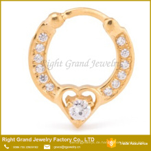 Großhandel 16G vergoldet Prong Set CZ Jeweled Herz aufklappbar Septum Clicker Ring